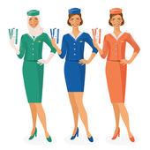 Sada 3 air hostesky Dressed v uniformě s barevné varianty. Arabských a evropských letuška. Vektorové ilustrace