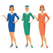 Set of 3 air hostesses Dressed In Uniform With Color Variants. Arab and European stewardess. Vector illustration