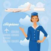 Air hostess Woman in official clothes Cute cheerful female flight attendant in blue uniform