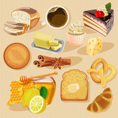 Set of pies and flour products from bakery or pastry shop Buns baguettes bread pastries and other baked goods