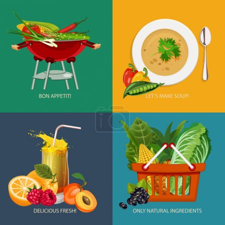 Advertisement set of concept banners with vegetable and fruits