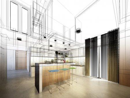 Photo pour Esquisse abstraite de la cuisine intérieure - image libre de droit