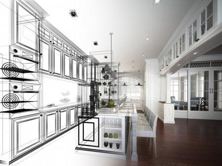 Photo pour Abstracte schets ontwerp van interieur keukenconception de croquis abstrait de cuisine intérieur - image libre de droit