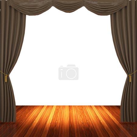 Photo pour Scène avec rideaux marron et spotlight. - image libre de droit