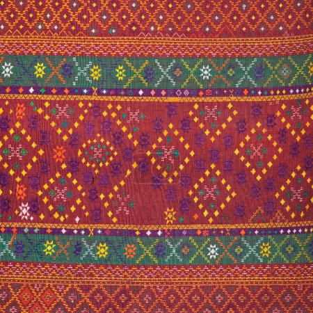 Ancient fabric more than 60 years old colorful thai silk handcraft peruvian style rug surface close up textiles peruvian beautiful background tapestry persian detail pattern farabic fashionable old