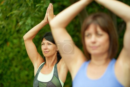 Two mature women keeping fit by doing yoga in the summer