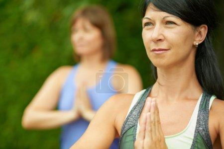 Photo pour Couple d'amis dans la quarantaine de connecter et de rester en bonne santé par la pratique du yoga dans la nature - image libre de droit