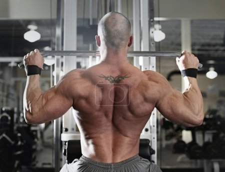 Photo for Active and muscular man keeping his arms and back strong and fit by using gym equipment machinnes - filtered image - Royalty Free Image