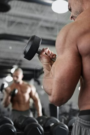 Photo for Active and muscular man keeping his arms strong muscular and fit by using free weights in front of the mirror - filtered image - Royalty Free Image