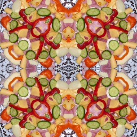 Kaleidoscopic food seamless generated texture