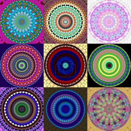 Set of mandala ornament generated textures