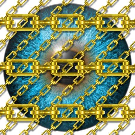 Iron chains with eye iris texture