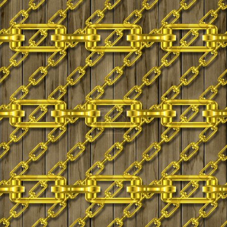 Iron chains with wood seamless texture