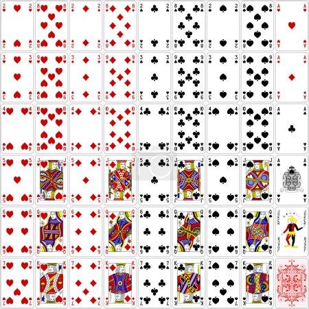 Illustration pour Jeu complet de cartes de poker quatre couleurs design classique 400 dpi - image libre de droit
