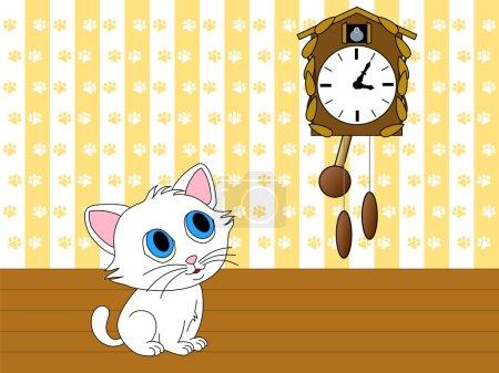 Kitten watching cuckoo clock