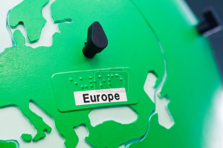 Photo for Close up of world map globe. Focus in Europe. - Royalty Free Image