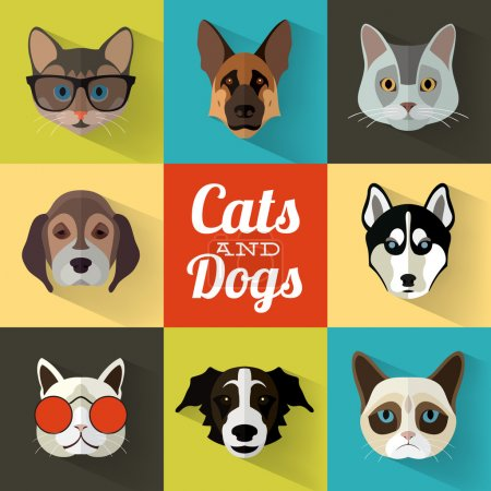 Animal Portrait Set with Flat Design - Cats and Dogs