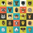 Animals Portrait Set with Flat Design...
