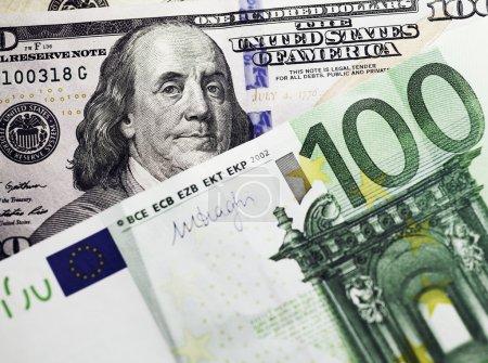 dollar and euro money background
