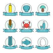 Allergeni, cibo dieta set di icone