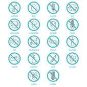 Set di icone di allergene di prodotti specifici per intolleranze