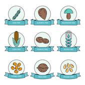 Potravinové alergeny v sadě lineární barevné ikony