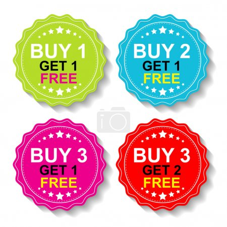 Illustration for Sticker or Label For Marketing Campaign, Buy 1 Get 1 Free, Buy 2 Get 1 Free, Buy 3 Get 1 Free and Buy 3 Get 2 Free With Colorful Icon. - Royalty Free Image
