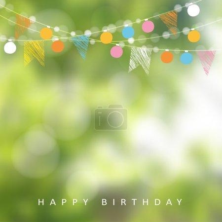 Illustration pour Fête d'anniversaire ou fête de juin brésilien, illustration vectorielle avec guirlande de lumières, drapeaux de fête et arrière-plan flou - image libre de droit