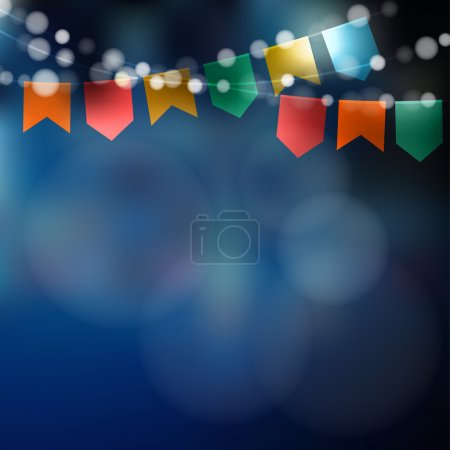 Brazilian june party. Festa junina. String of lights, party flags. Party decoration. Festive night, blurred vector background.