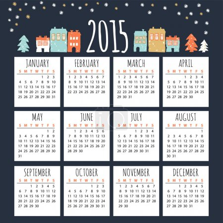 Calendar 2015 with cute winter houses, vector illustration