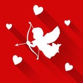 Valentine card with silhouette of angel cupid hearts vector icon