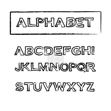 Vintage rubber stamp outline font, vector alphabet