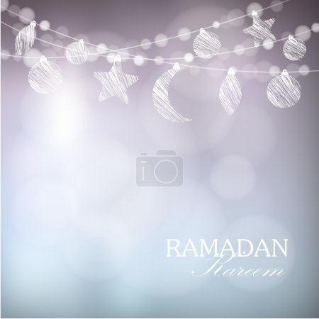 Garlands with moon, stars, lights, Ramadan vector illustration