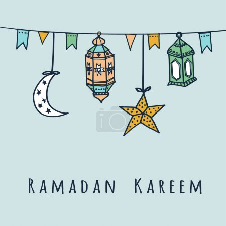 Arabic lanterns, flags, moon and stars, Ramadan vector illustration
