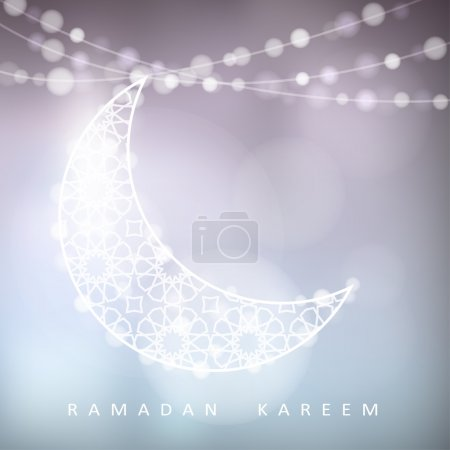 Ornamental moon with bokeh lights, Ramadan, vector