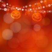 Halloween or Dia de los muertos card with pumpkin and lights vector