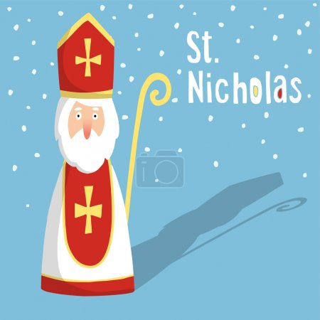 Cute greeting card with Saint Nicholas with mitre and pastoral staff, flat design, vector illustration