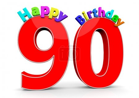 The big red number 90 with Happy Birthday