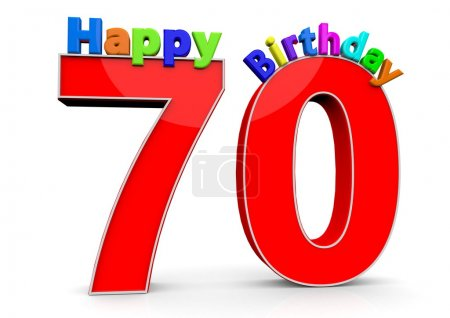 The big red number 70 with Happy Birthday