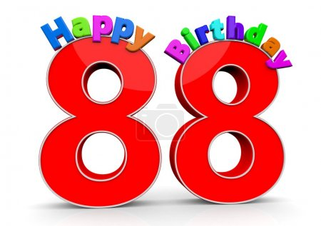 The big red number 88 with Happy Birthday