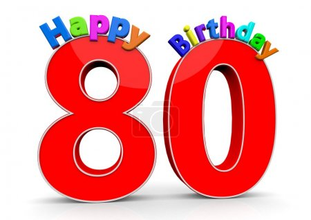 The big red number 80 with Happy Birthday