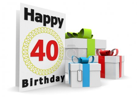 Photo for A birthday card with the age, happy birthday and presents - Royalty Free Image