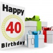 A birthday card with the age, happy birthday and p...