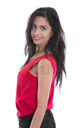 Photo for Portrait of a isolated smiling young indian woman in red shirt. - Royalty Free Image