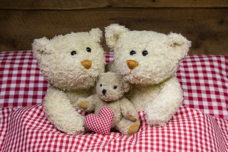 Teddy bear family with a baby lying in a red checkered bed.