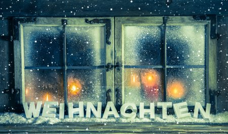 Atmospheric xmas window for a background with german text: Chris