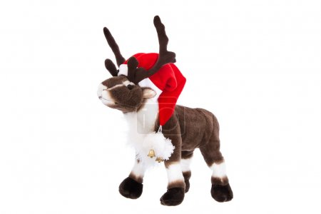 Isolated cuddly toy: Reindeer Rudolph with red chr...