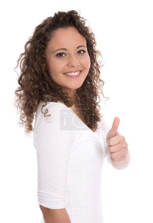 Photo pour Succès assez isolé jeune femme faisant pouce vers le haut geste sur blanc . - image libre de droit
