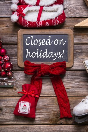 Photo for Opening hours on christmas holidays: closed, information for customers, business partners and guests. - Royalty Free Image