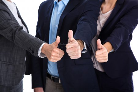 Thumbs up: business people making symbol for success, yes or par